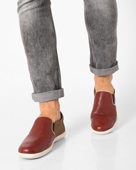 Faux-Leather Casual Slip-Ons By USPA ( Maroon )