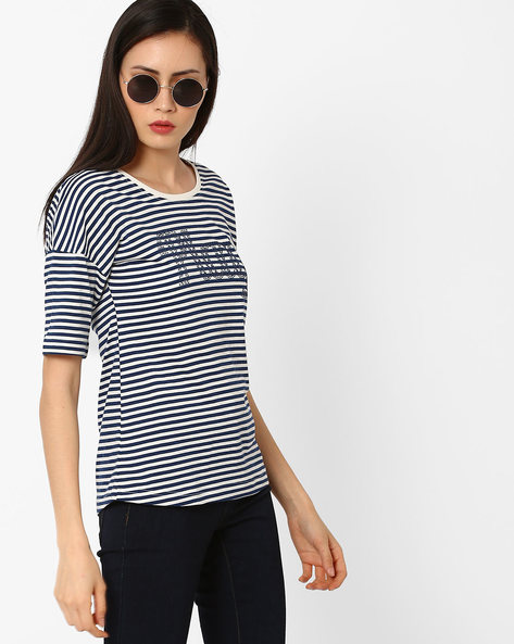 Striped T-shirt With Drop Shoulders By TEAM SPIRIT ( Navy )