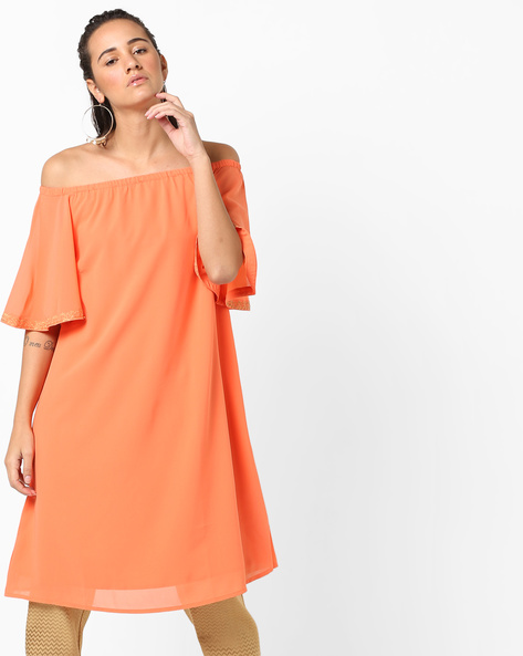 Off-Shoulder Tunic With Bell Sleeves By AJIO ( Coral )
