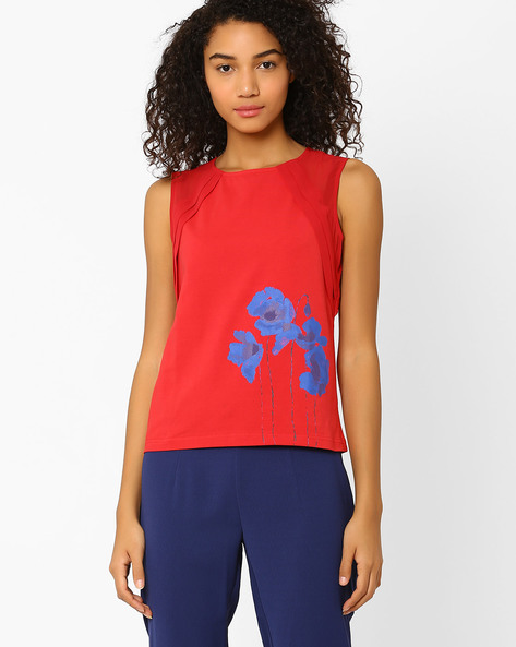 Panelled Top With Floral Print By AJIO ( Red )