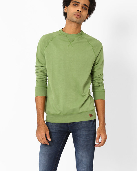 Bio-Washed Slim Fit Sweatshirt By Blue Saint ( Green )