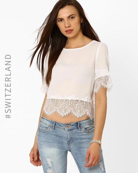 Crop Top With Eyelash Lace Trim By TALLY WEiJL ( Offwhite )