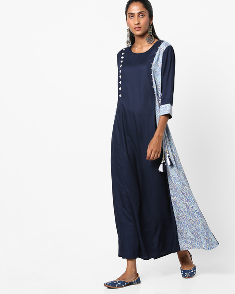 A-line Maxi Dress With Printed Panel By Shree ( Blue )