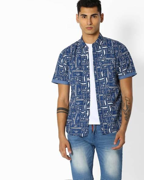 Novelty Print Cotton Shirt By Teamspirit ( Blue )