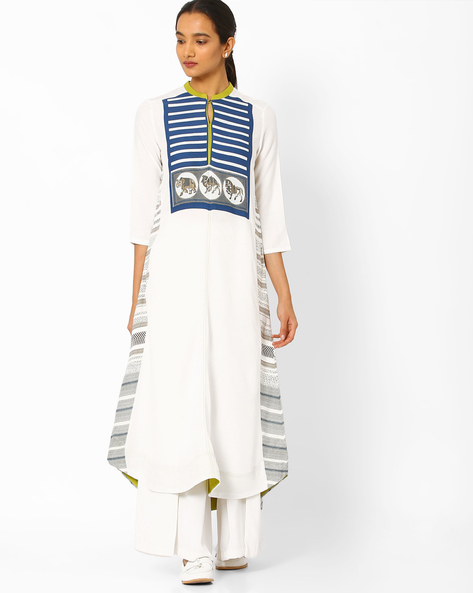Printed High-Low Straight Kurta By W ( White )