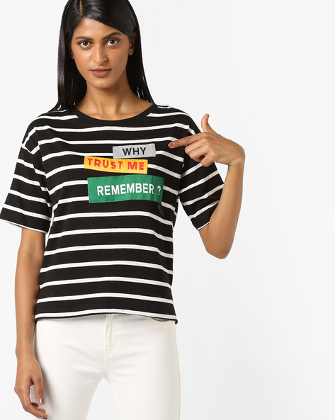 Striped Cotton T-shirt With Typographic Patch By RIO ( Black )
