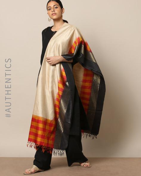 Handloom Pure Silk Tussar Muga Dupatta By Indie Picks ( Multi ) - 460176773001