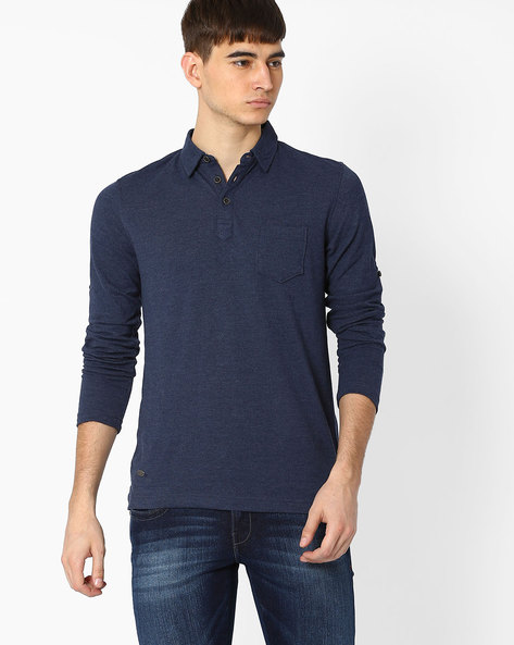 Polo T-shirt With Patch Pocket By NETPLAY ( Blue )