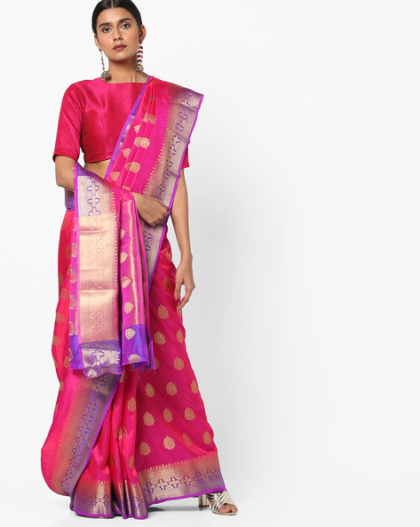 Banarasi Silk Saree With Zari Work By Viva N Diva ( Pink )