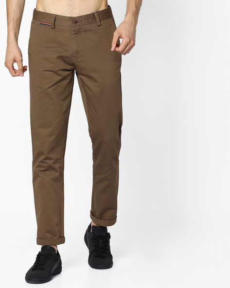 Slim Fit Chinos With Insert Pockets By AJIO ( Olive )