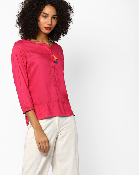 Tunic With Button Placket By Melange By Lifestyle ( Pink )