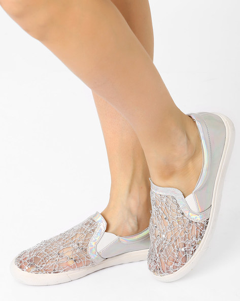 Sequinned Casual Shoes By AJIO ( Silver )