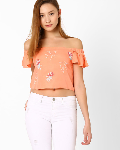 Embroidered Crop Top With Flutter Sleeves By AJIO ( Pink )