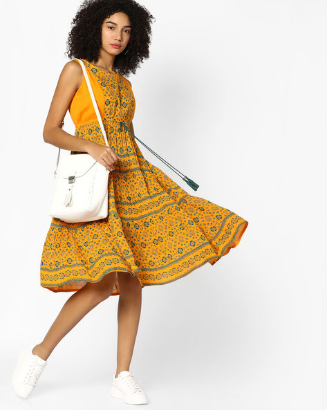 Printed Tunic With Tie-Up By COLOUR ME ( Mustard )