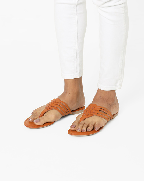 Flat Sandals With Braided Upper By AJIO ( Tan )