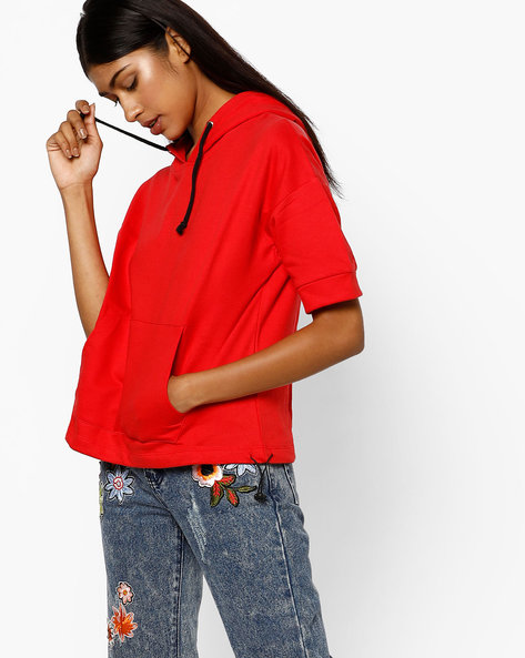 Hooded Sweatshirt With Drawstring By AJIO ( Red )