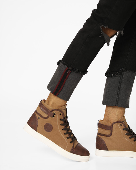 Strada Colourblock Mid-Top Lace-Up Shoes By Jack & Jones ( Brown )