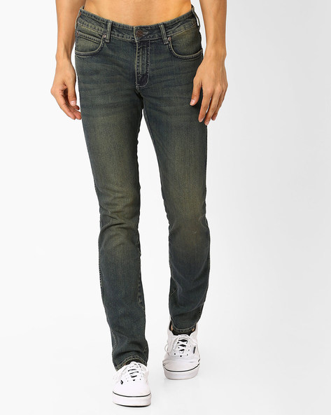 Slim Fit Lightly Washed Jeans By WRANGLER ( Stone )