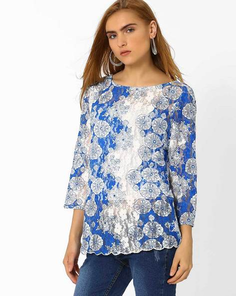 Lace Top With Scalloped Hem By The Vanca ( Purple )