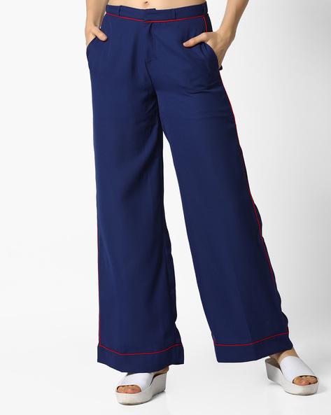 Palazzo Pants With Pockets By AJIO ( Navyblue )