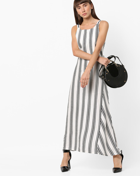 Striped Maxi Dress With Lace-Up Back By AJIO ( Black )