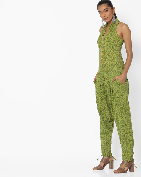 Printed Jumpsuit With Drop Crotch By Desi Weaves ( Olive )