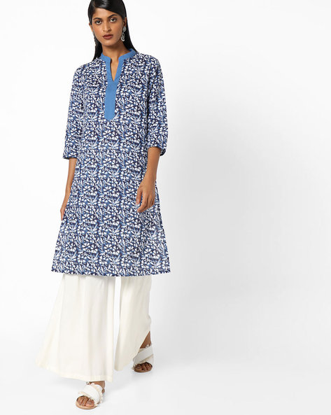 Floral Print Tunic With Side Slits By AJIO ( Blue )