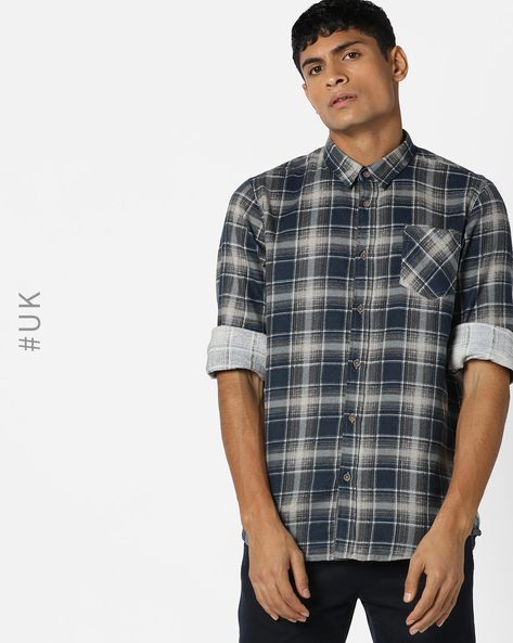 Checked Shirt With Patch Pocket By BRAVE SOUL ( Navy )