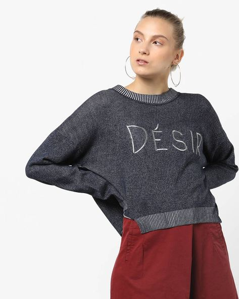 Knitted Pullover With Typographic Embroidery By Only ( Peach )