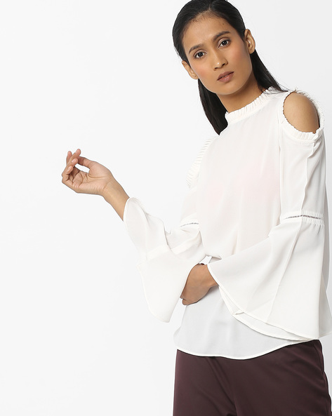 Ruffled Neck Top With Bell Sleeves By FIG ( Offwhite )
