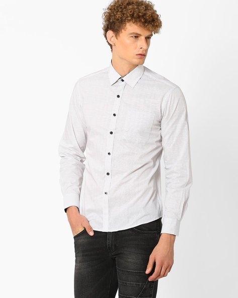 Printed Pure Cotton Shirt By NETWORK ( White )