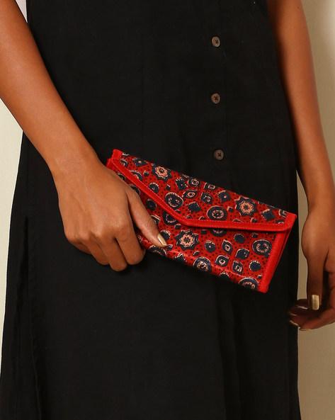 Handblock Print Mashru Silk 3-Fold Envelope Clutch By Indie Picks ( Multi ) - 460059242001