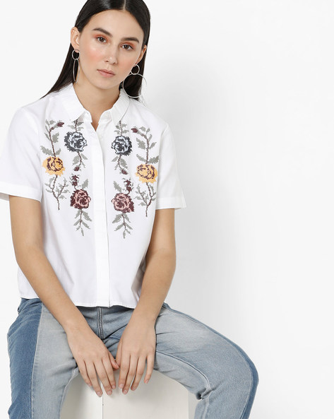Shirt With Floral Embroidery By Only ( White )