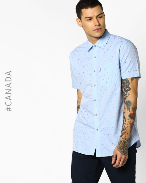 Easy Iron Semi-Fit Shirt With Patterned Weave By Point Zero ( Sky )