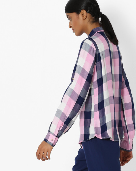 Checked Shirt With Patch Pockets By DNMX ( Ltpink )