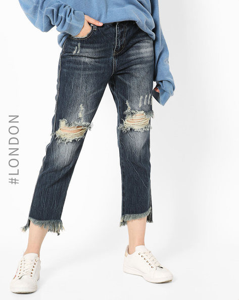 Heavily Distressed Cropped Jeans By Glamorous ( Darkblue )