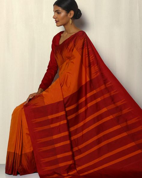 Kadiyal Temple Border South Silk Saree By Pretty Woman ( Rust )