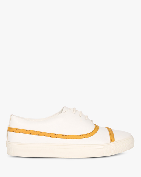 Low-Top Panelled Shoes By AJIO ( Mustard )