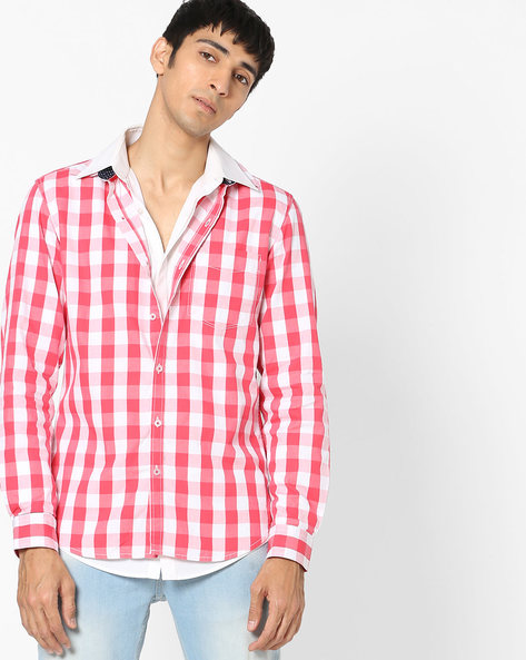 Checked Shirt With Spread Collar By JOHN PLAYERS ( Red )