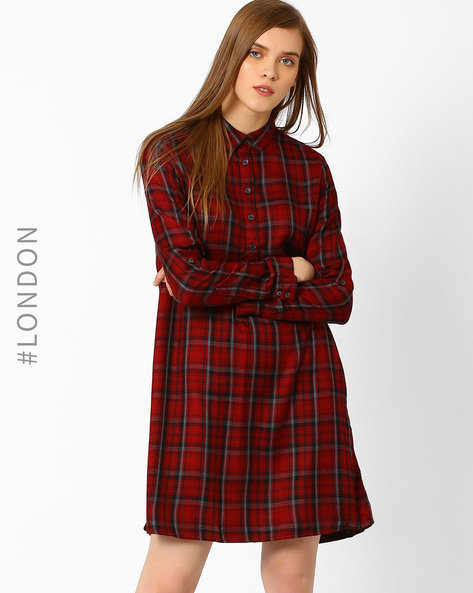Checked Shirt Dress By Marks & Spencer ( Red )