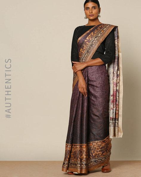 Pure Silk Brush Printed Designer Saree By Rudrakaashe-MSU ( Maroon )