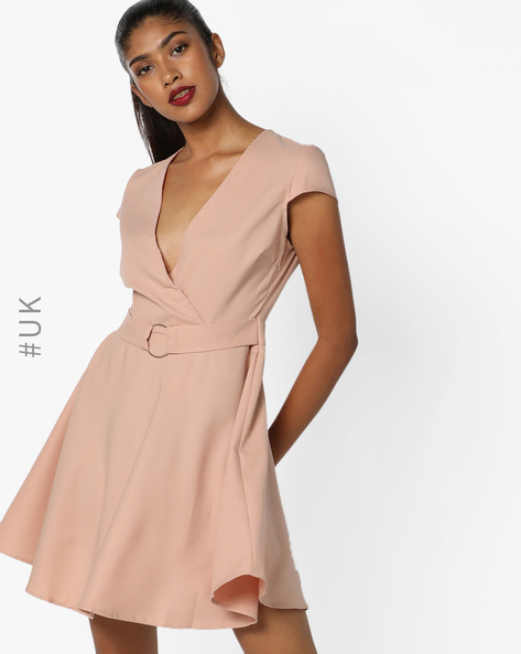 Fit & Flare Dress With Surplice Neckline By INFLUENCE ( Nude )
