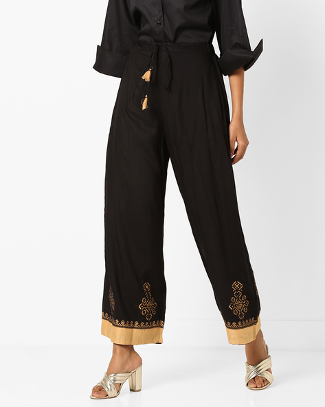 Mid-Rise Palazzos With Drawstring Waist By Bitterlime ( Black )