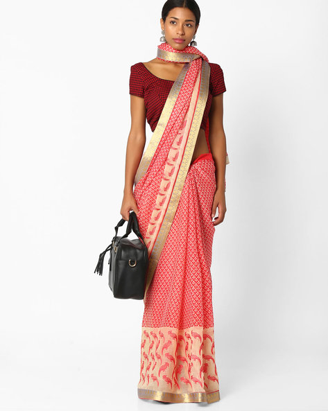 Printed Saree With Contrast Border By Amori ( Pink )