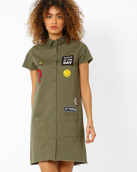 Shirt Dress With Applique By Evah London ( Olive )