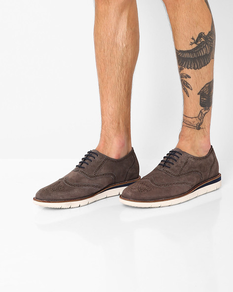 Suede Leather Lace-Up Casual Shoes By TURN ( Grey )