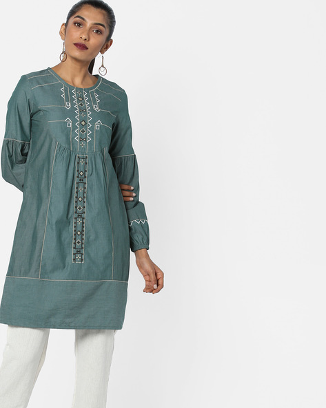 Panelled Shift Dress With Embroidery By AJIO ( Olive )