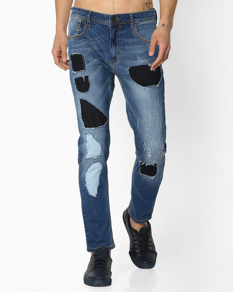 Slim Fit Jeans With Patch Detail By ADAMO LONDON ( Blue )
