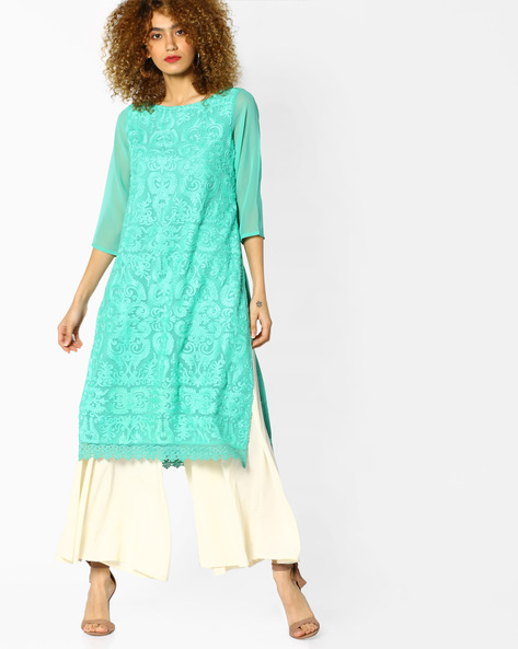 Embroidered Straight Kurta With Sheer Sleeves By Melange By Lifestyle ( Aqua )