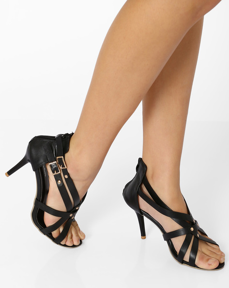 Zip-Back Strappy Stilettos By MFT Couture ( Black )